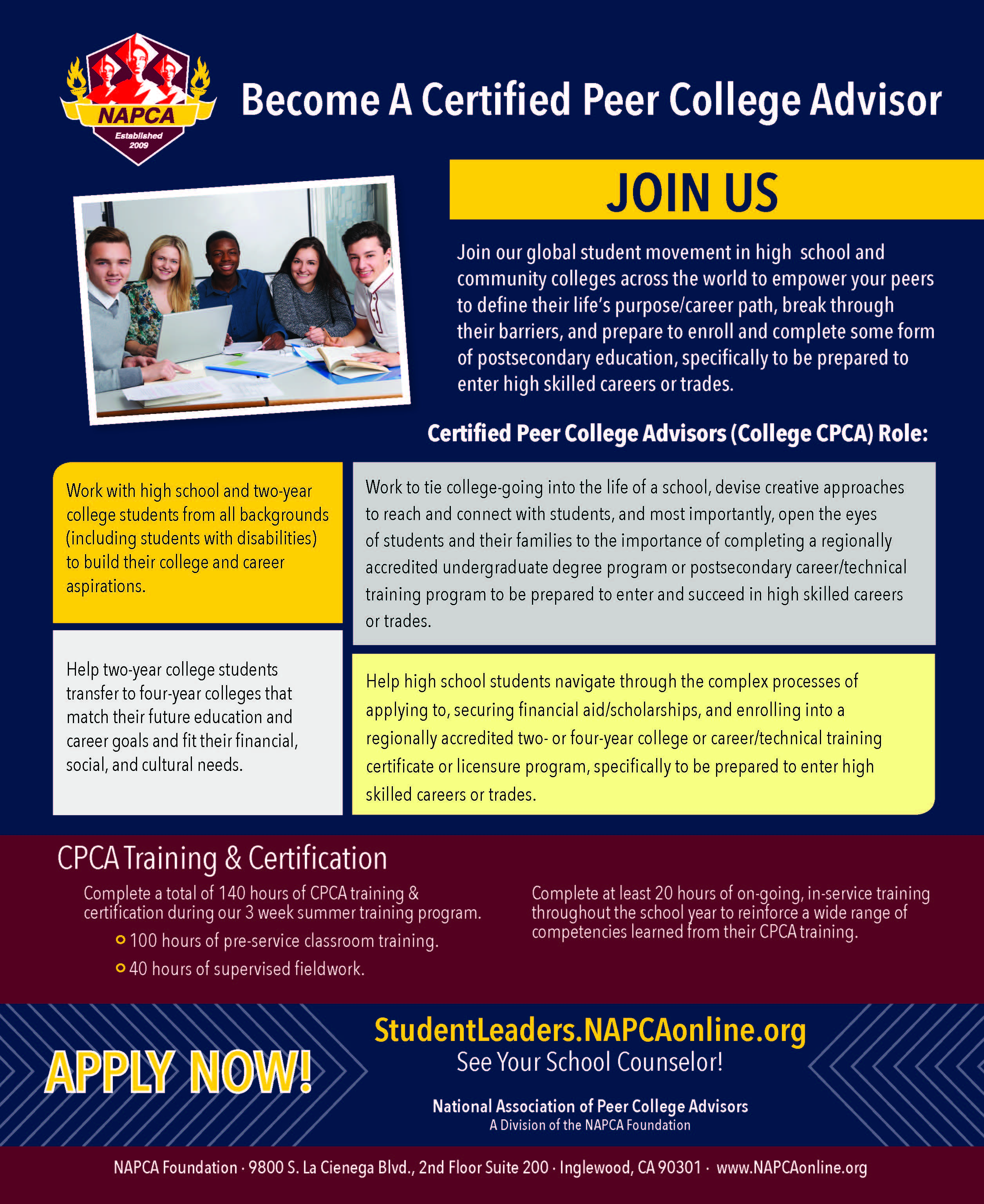 Become a certified peer college advisor cpca national become a college cpca xflitez Image collections